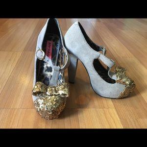 Betsy Johnson Poppie T-Strap Sequin Bow Toe heels